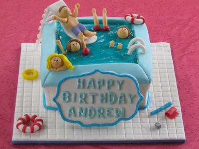 Swimming pool cake